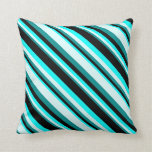 [ Thumbnail: Dark Cyan, Light Cyan, Cyan & Black Lines Pillow ]
