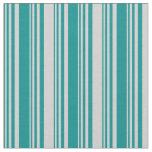 [ Thumbnail: Dark Cyan & Light Gray Striped/Lined Pattern Fabric ]