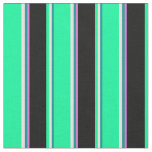 [ Thumbnail: Dark Cyan, Light Yellow, Green, Black & Orchid Fabric ]