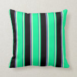 [ Thumbnail: Dark Cyan, Light Yellow, Green, Black & Orchid Throw Pillow ]