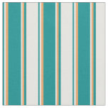 [ Thumbnail: Dark Cyan, Mint Cream, and Brown Colored Lines Fabric ]
