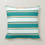 [ Thumbnail: Dark Cyan, Mint Cream, and Brown Colored Lines Throw Pillow ]