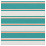 [ Thumbnail: Dark Cyan, Mint Cream, and Light Salmon Stripes Fabric ]