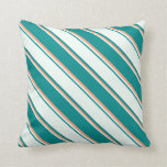 [ Thumbnail: Dark Cyan, Mint Cream, and Light Salmon Stripes Throw Pillow ]