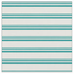 [ Thumbnail: Dark Cyan & Mint Cream Colored Lines Pattern Fabric ]