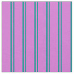 [ Thumbnail: Dark Cyan & Orchid Colored Stripes Pattern Fabric ]
