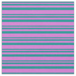 [ Thumbnail: Dark Cyan & Orchid Lines/Stripes Pattern Fabric ]