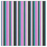 [ Thumbnail: Dark Cyan, Orchid, White, and Black Colored Lines Fabric ]