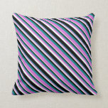 [ Thumbnail: Dark Cyan, Orchid, White, and Black Colored Lines Throw Pillow ]