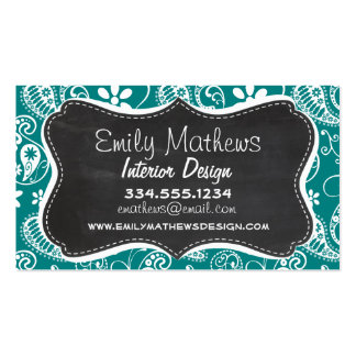 Dark Cyan Paisley; Floral; Retro Chalkboard Business Cards