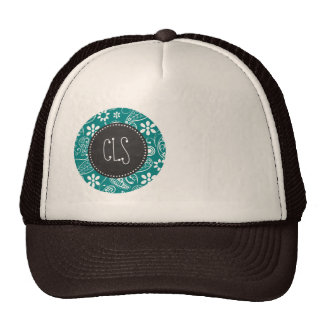Dark Cyan Paisley; Floral; Retro Chalkboard Trucker Hat