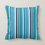 [ Thumbnail: Dark Cyan, Plum, Black, White & Deep Sky Blue Throw Pillow ]