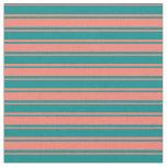 [ Thumbnail: Dark Cyan & Salmon Colored Lines Fabric ]