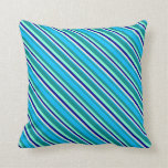 [ Thumbnail: Dark Cyan, Sky Blue, Beige, Dark Blue & Aquamarine Throw Pillow ]