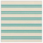 [ Thumbnail: Dark Cyan & Tan Colored Lines Fabric ]
