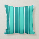 [ Thumbnail: Dark Cyan, Turquoise & Light Cyan Pattern Pillow ]