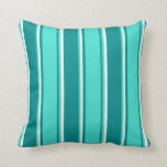 [ Thumbnail: Dark Cyan, Turquoise & Mint Cream Pattern Pillow ]