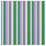 [ Thumbnail: Dark Cyan, Violet, White, and Green Pattern Fabric ]