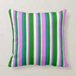 [ Thumbnail: Dark Cyan, Violet, White, and Green Pattern Pillow ]