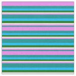[ Thumbnail: Dark Cyan, Violet, White, Green & Deep Sky Blue Fabric ]
