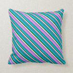 [ Thumbnail: Dark Cyan, Violet, White, Green & Deep Sky Blue Throw Pillow ]