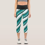 [ Thumbnail: Dark Cyan, White, Aquamarine & Black Lines Leggings ]