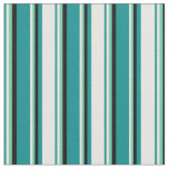 [ Thumbnail: Dark Cyan, White, Aquamarine & Black Lines Fabric ]