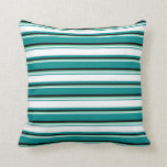 [ Thumbnail: Dark Cyan, White, Aquamarine & Black Lines Pillow ]