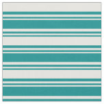 [ Thumbnail: Dark Cyan & White Colored Stripes Pattern Fabric ]