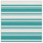 [ Thumbnail: Dark Cyan & White Colored Stripes Pattern Fabric ]