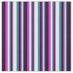 [ Thumbnail: Dark Cyan, White, Fuchsia & Black Striped Pattern Fabric ]