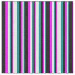[ Thumbnail: Dark Cyan, White, Fuchsia & Black Striped Pattern Fabric ]