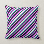 [ Thumbnail: Dark Cyan, White, Fuchsia & Black Striped Pattern Throw Pillow ]