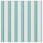 [ Thumbnail: Dark Cyan & White Lined Pattern Fabric ]