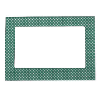 Dark Cyan With Simple White Dots Magnetic Picture Frames