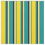 [ Thumbnail: Dark Cyan, Yellow, Beige, and Black Pattern Fabric ]