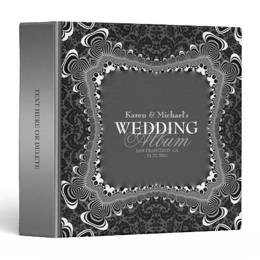 Dark Damask B&W Silver Wedding Album Binder