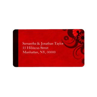 Dark Dark Red Gothic Floral Address Labels Favors
