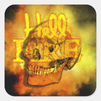 Dark Death Skull Hell Fire Fiery Inferno Square Sticker