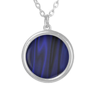 Dark Deep Blue Silky Satin Solid Color Backgrounds Silver Plated Necklace