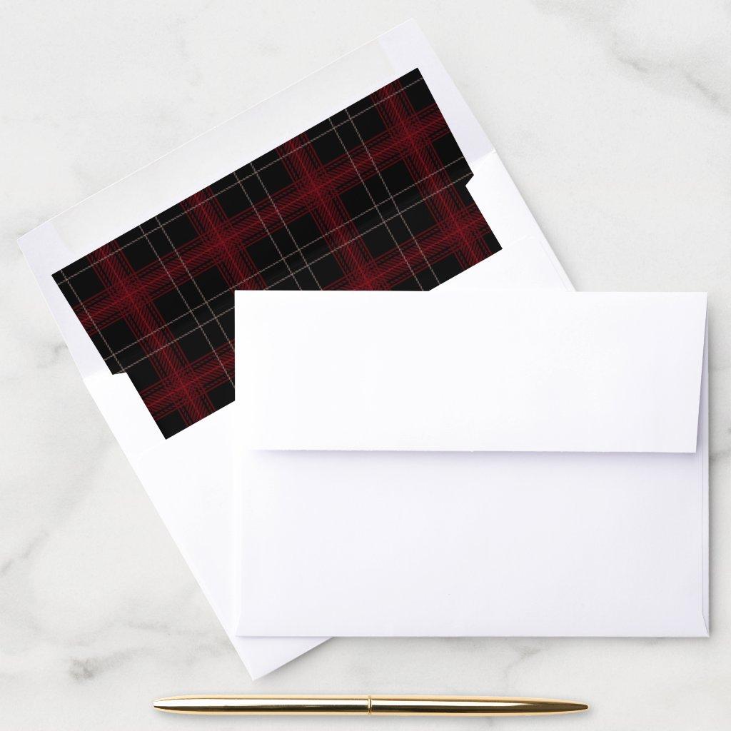 Dark Deep Red and Black Plaid Fall Envelope Liner