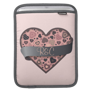 Dark Delight heart with banner, customizable Sleeve For iPads