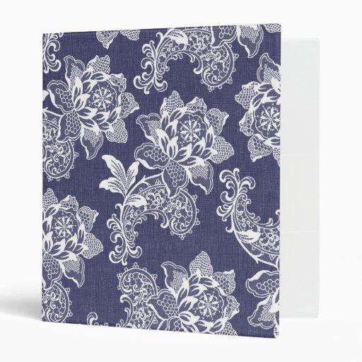 Dark Denim Vintage Floral Binder