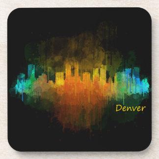 Dark Denver Colorado City Watercolor Skyline v4 Beverage Coaster