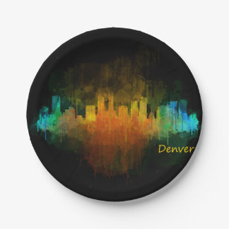 Dark Denver Colorado City Watercolor Skyline v4 Paper Plate