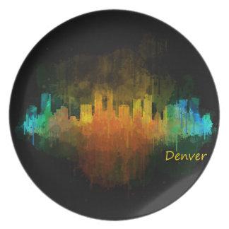 Dark Denver Colorado City Watercolor Skyline v4 Plate