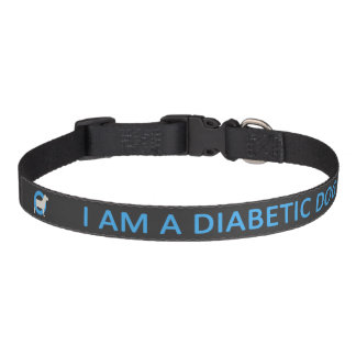 Dark Diabetic Dog medical alert Pet Collar