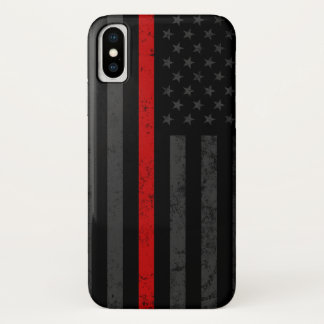 Dark Distressed Fire Fighter Flag iPhone X Case