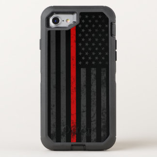 Dark Distressed Fire Fighter Flag OtterBox Defender iPhone 8/7 Case