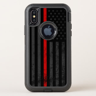 Dark Distressed Fire Fighter Flag OtterBox Defender iPhone X Case